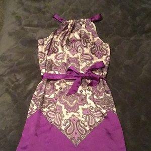 Max Studio lined paisley purple dress-worn once!